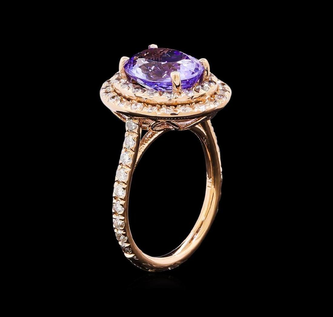 4.15 ctw Tanzanite and Diamond Ring - 14KT Rose Gold - 4