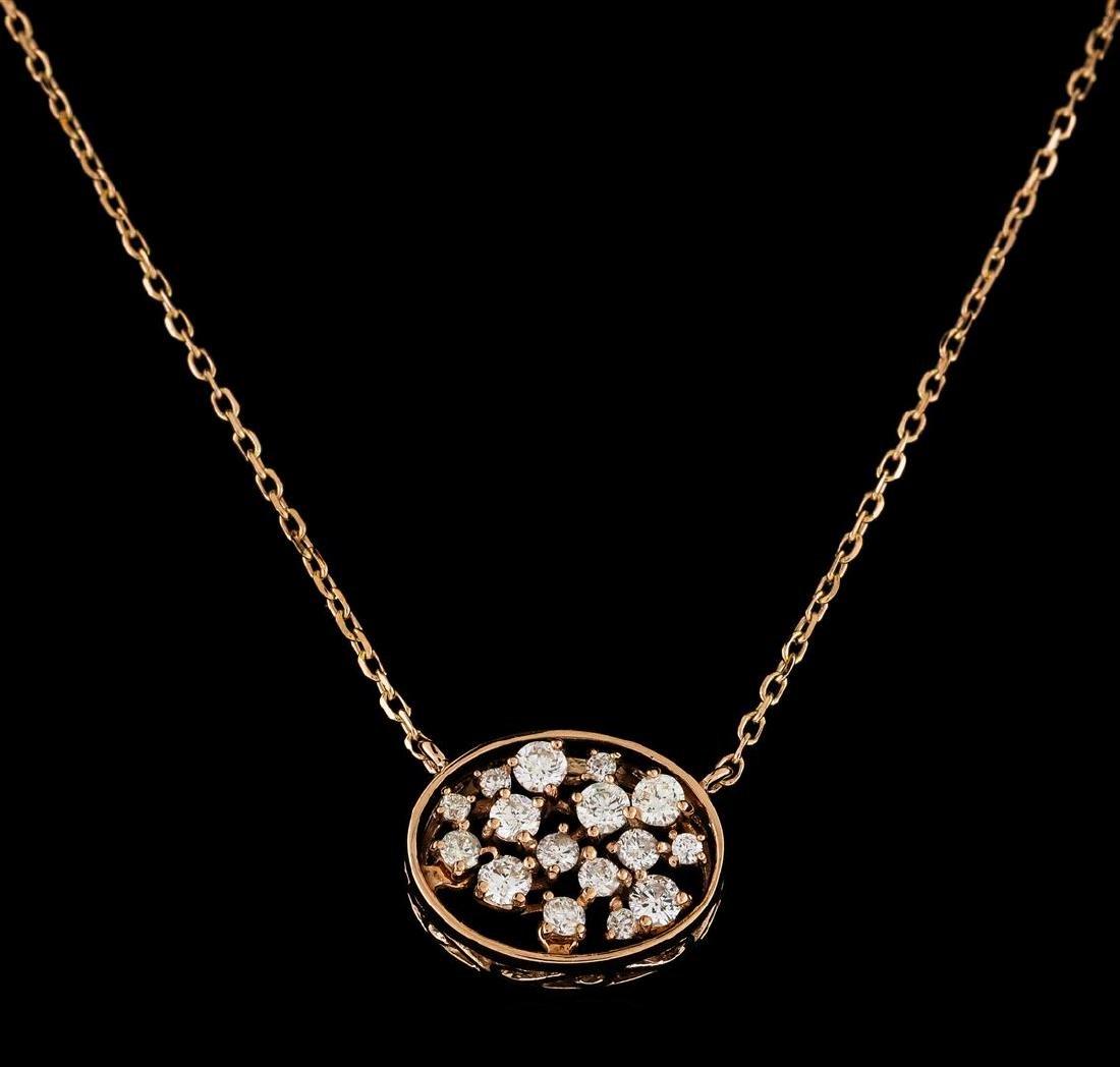0.35 ctw Diamond Necklace - 14KT Rose Gold - 2