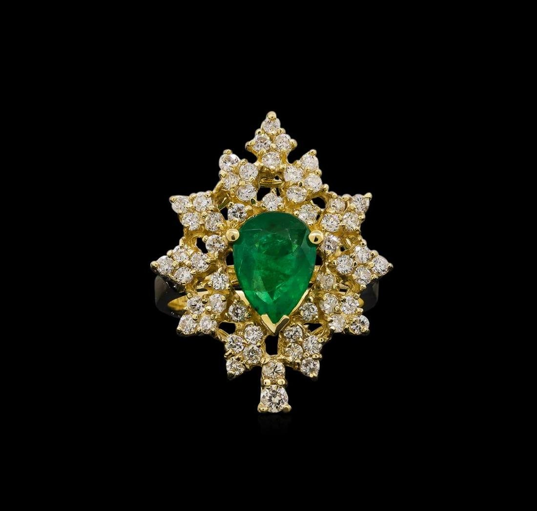 14KT Yellow Gold 1.82 ctw Emerald and Diamond Ring - 2