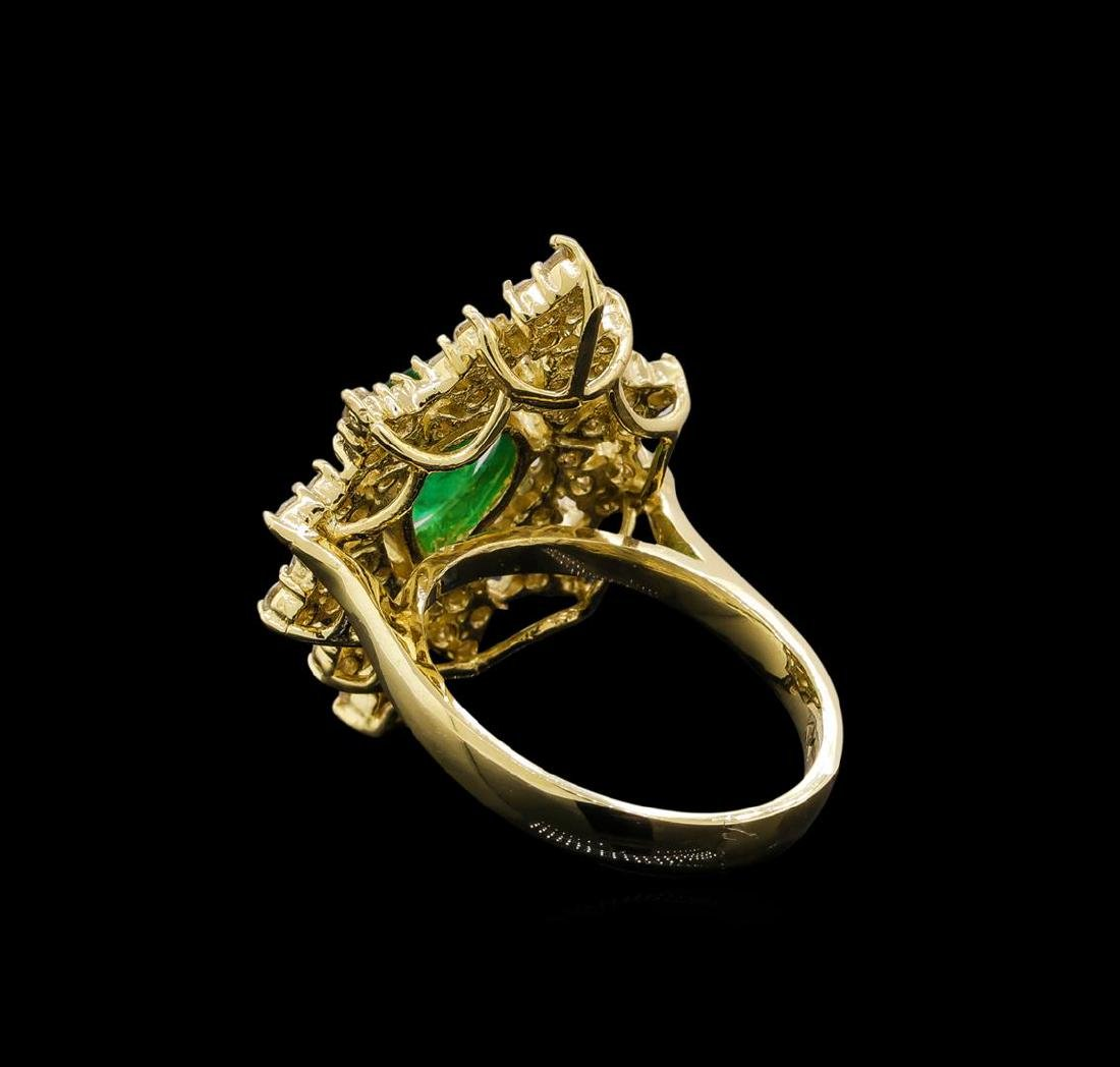 14KT Yellow Gold 1.82 ctw Emerald and Diamond Ring - 3