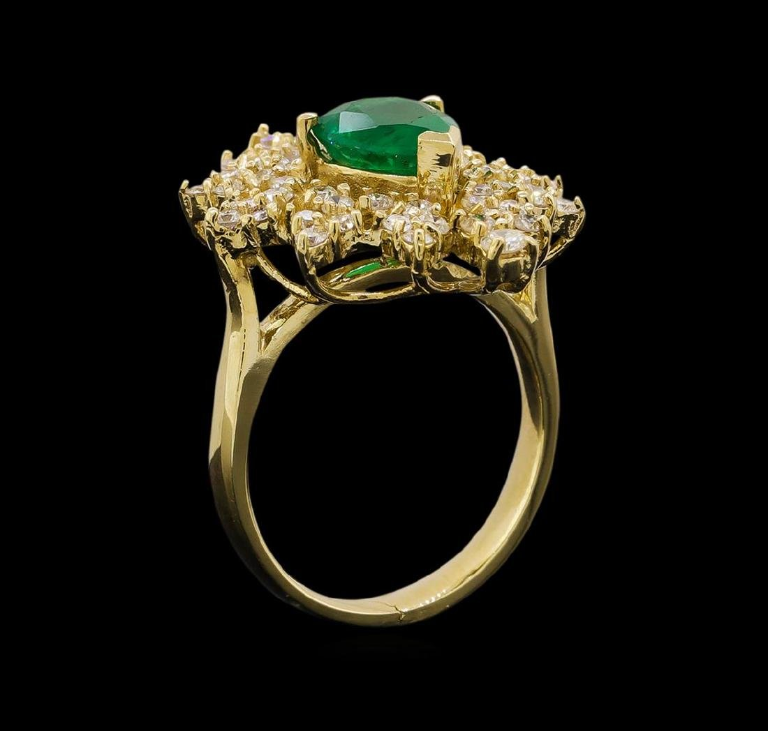 14KT Yellow Gold 1.82 ctw Emerald and Diamond Ring - 4