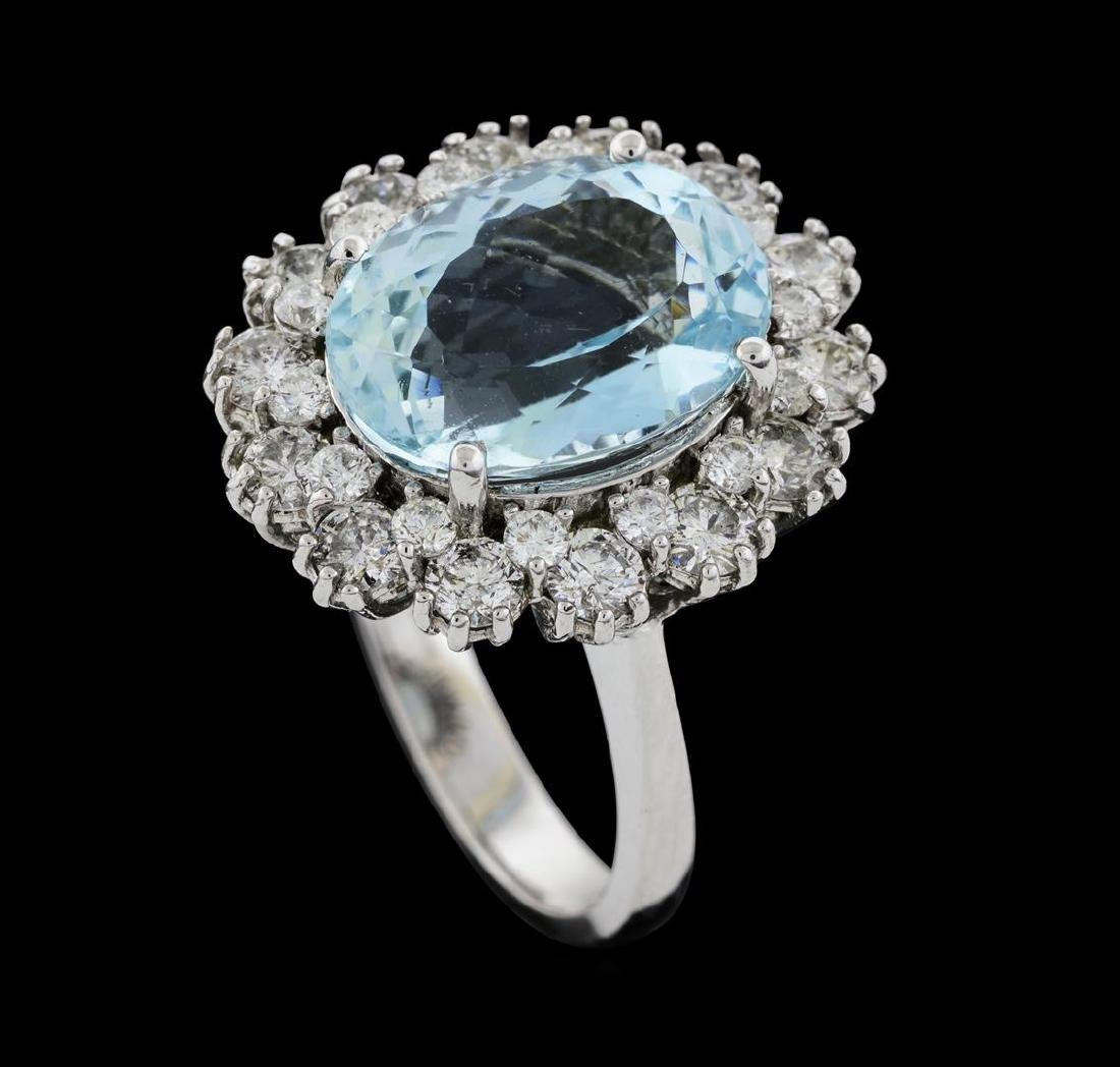 6.86 ctw Aquamarine and Diamond Ring - 14KT White Gold - 4