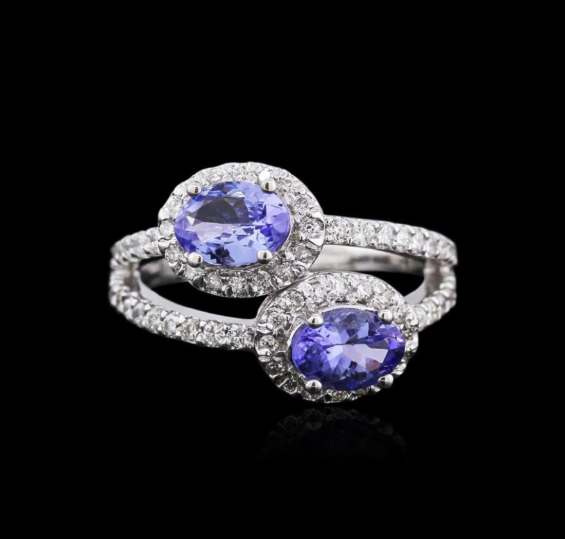 14KT White Gold 1.37 ctw Tanzanite and Diamond Ring - 2