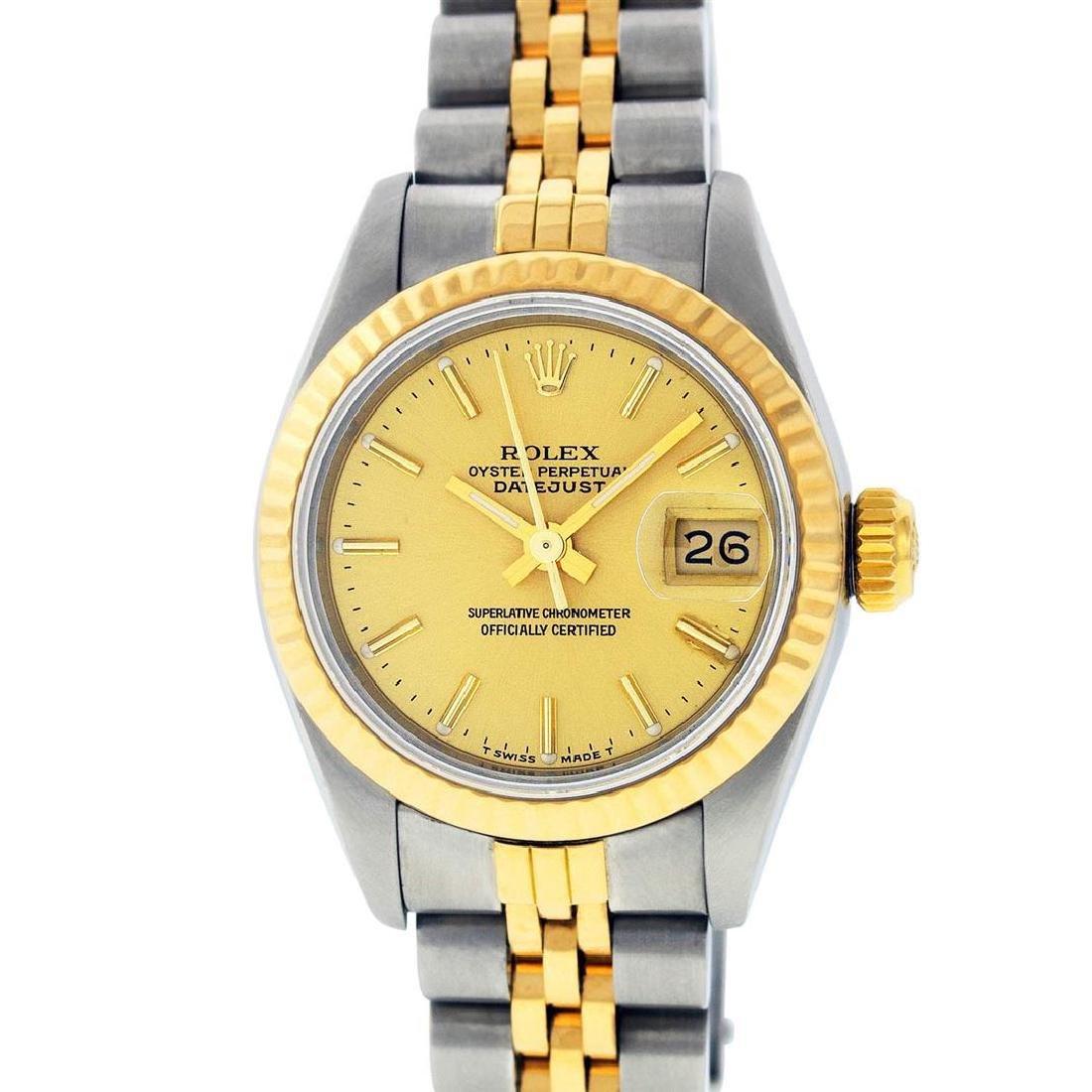 Rolex Ladies 2 Tone 14K Champagne Index Datejust - 2