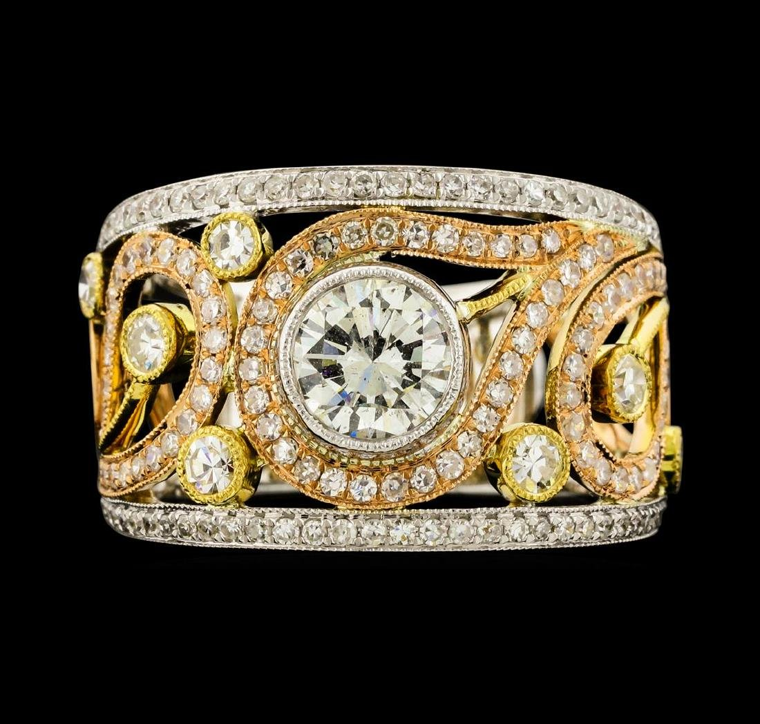 1.65 ctw Diamond Ring - 18KT Yellow, White, and Rose - 2