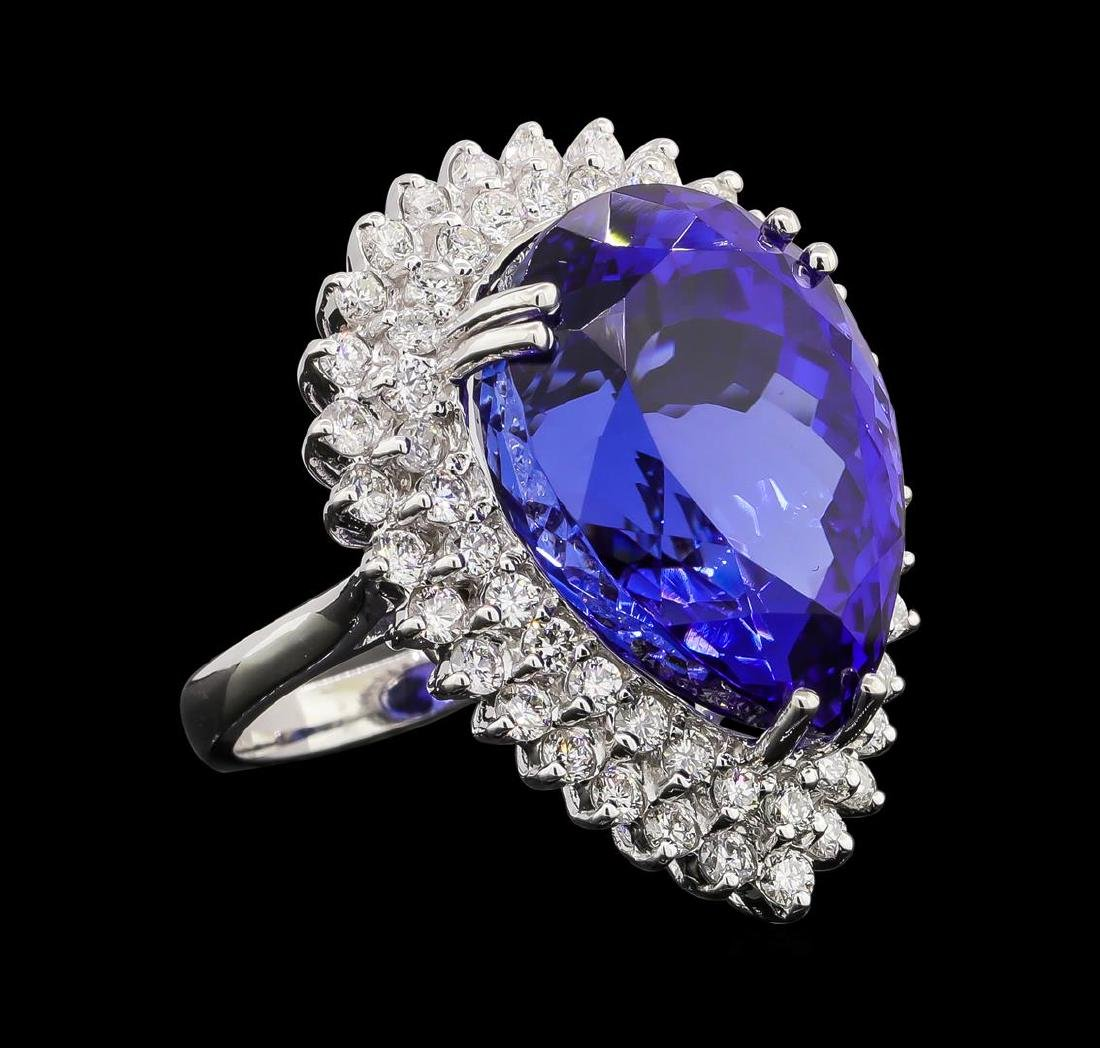 GIA Cert 27.51 ctw Tanzanite and Diamond Ring - 14KT