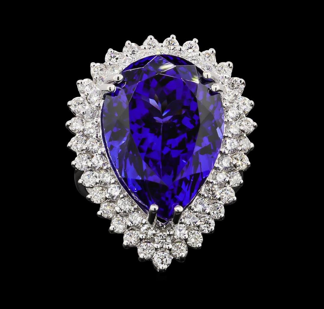 GIA Cert 27.51 ctw Tanzanite and Diamond Ring - 14KT - 2