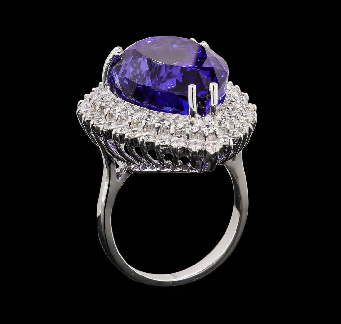 GIA Cert 27.51 ctw Tanzanite and Diamond Ring - 14KT - 4