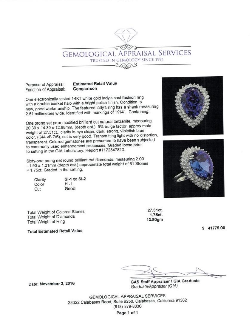 GIA Cert 27.51 ctw Tanzanite and Diamond Ring - 14KT - 5