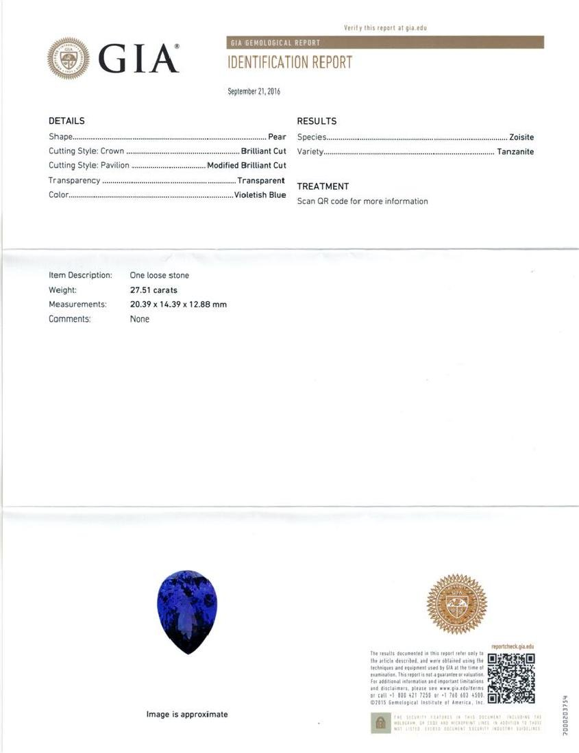 GIA Cert 27.51 ctw Tanzanite and Diamond Ring - 14KT - 6