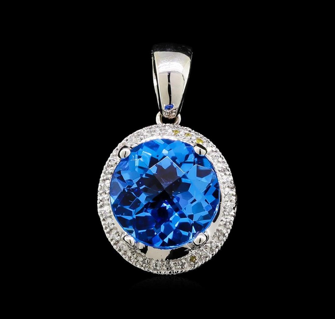 6.00 ctw Blue Topaz and Diamond Pendant - 14KT White