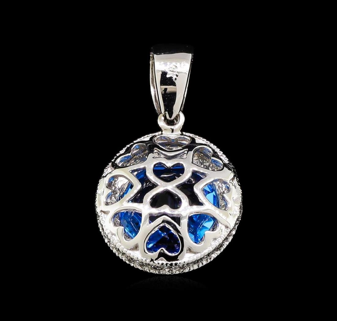 6.00 ctw Blue Topaz and Diamond Pendant - 14KT White - 2