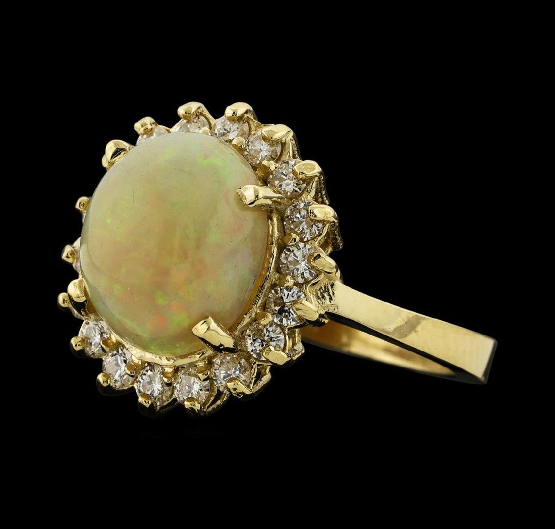 2.82 ctw Opal and Diamond Ring - 14KT Yellow Gold