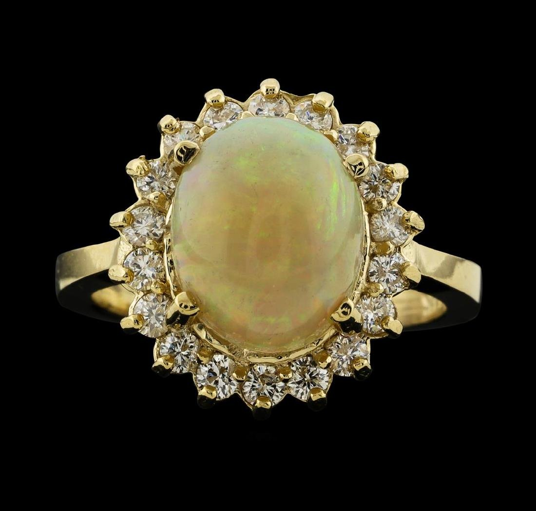 2.82 ctw Opal and Diamond Ring - 14KT Yellow Gold - 2