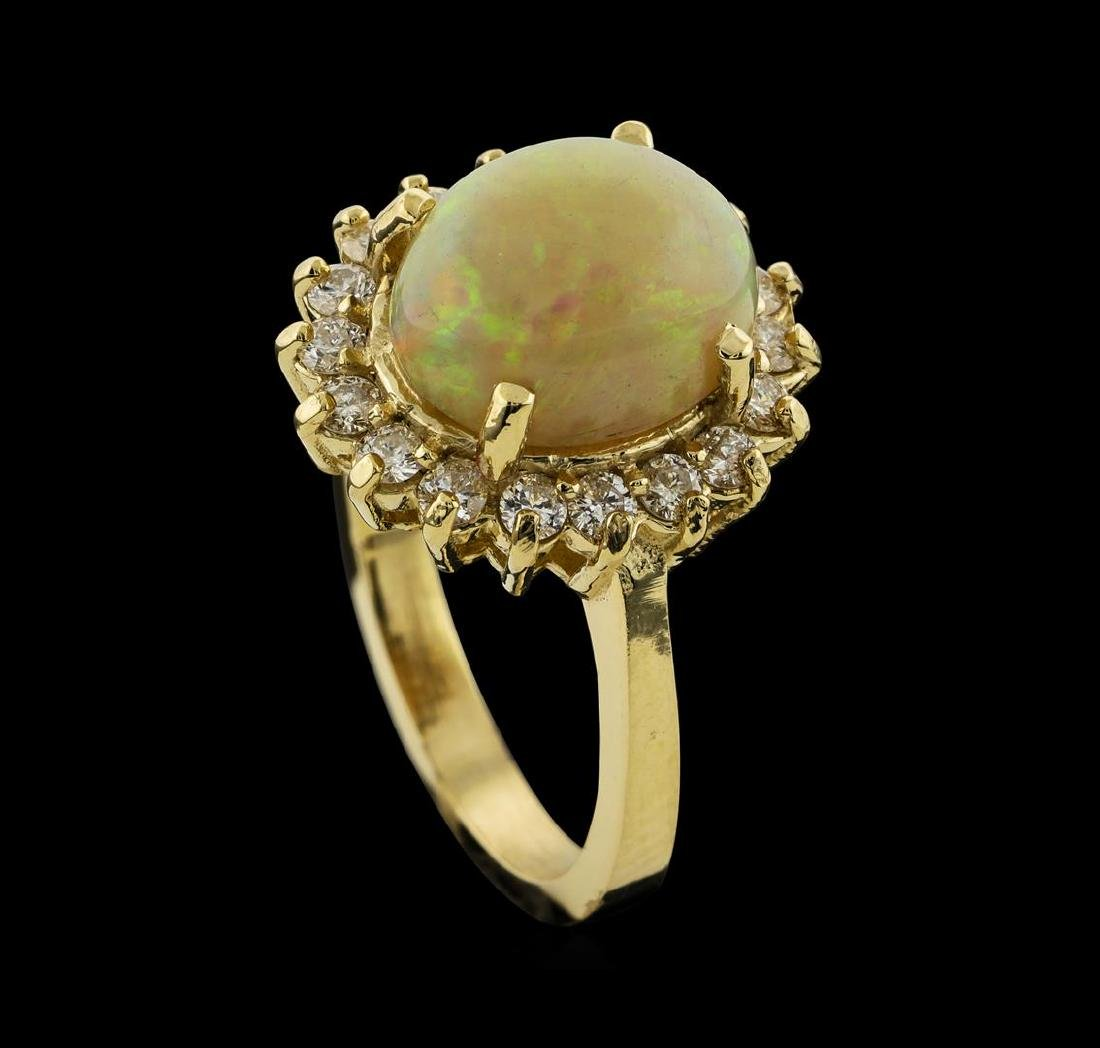 2.82 ctw Opal and Diamond Ring - 14KT Yellow Gold - 4