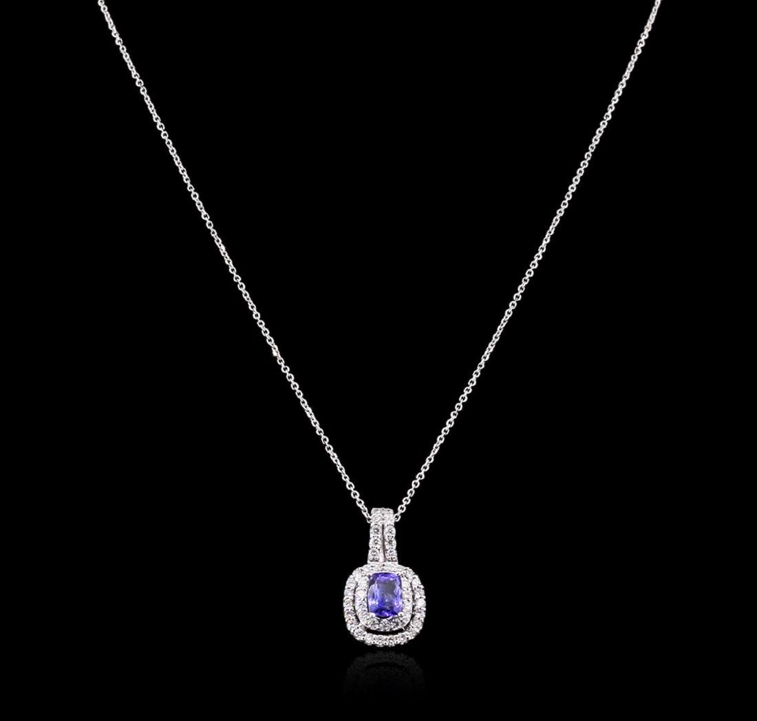 1.36 ctw Tanzanite and Diamond Pendant With Chain -