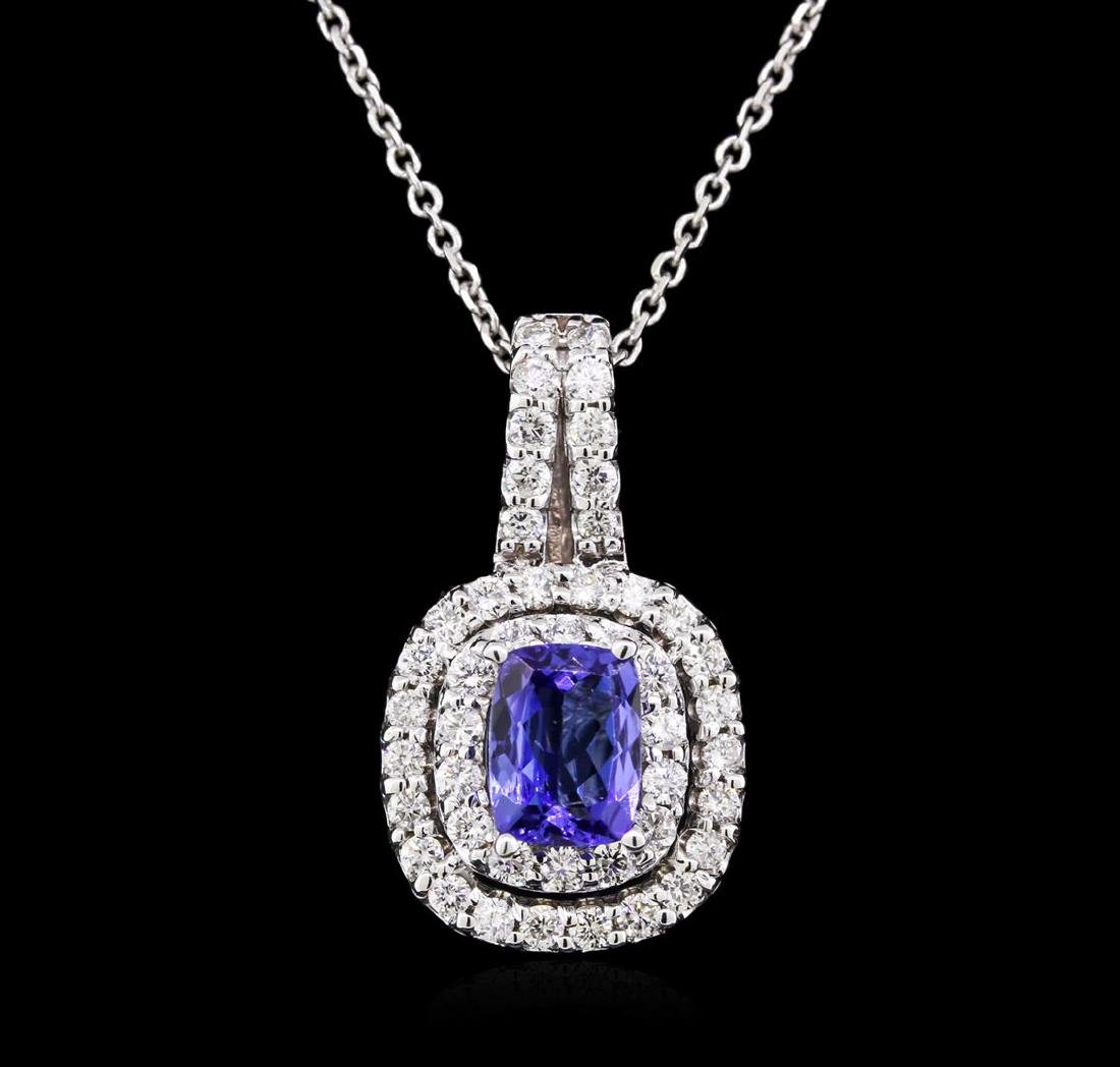 1.36 ctw Tanzanite and Diamond Pendant With Chain - - 2