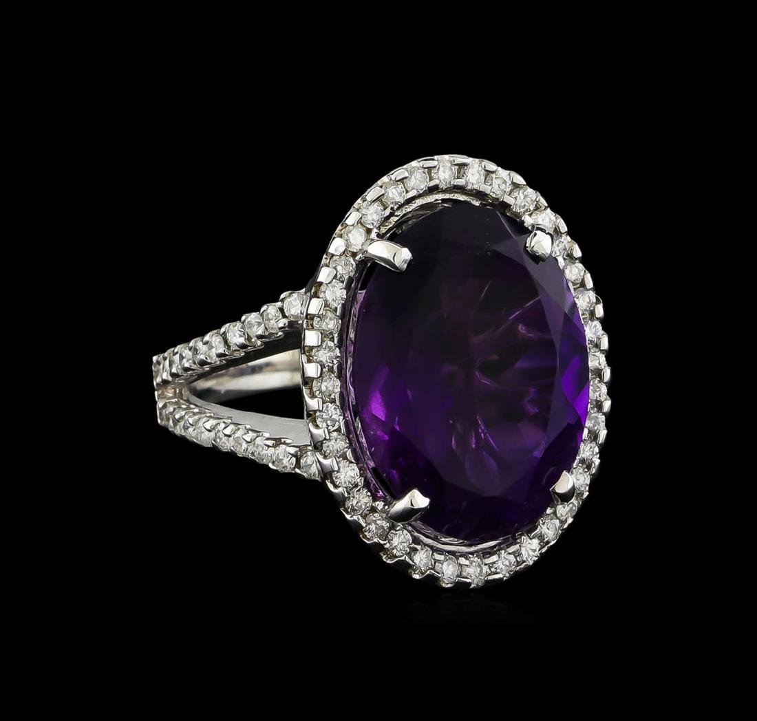 8.32 ctw Amethyst and Diamond Ring - 14KT White Gold