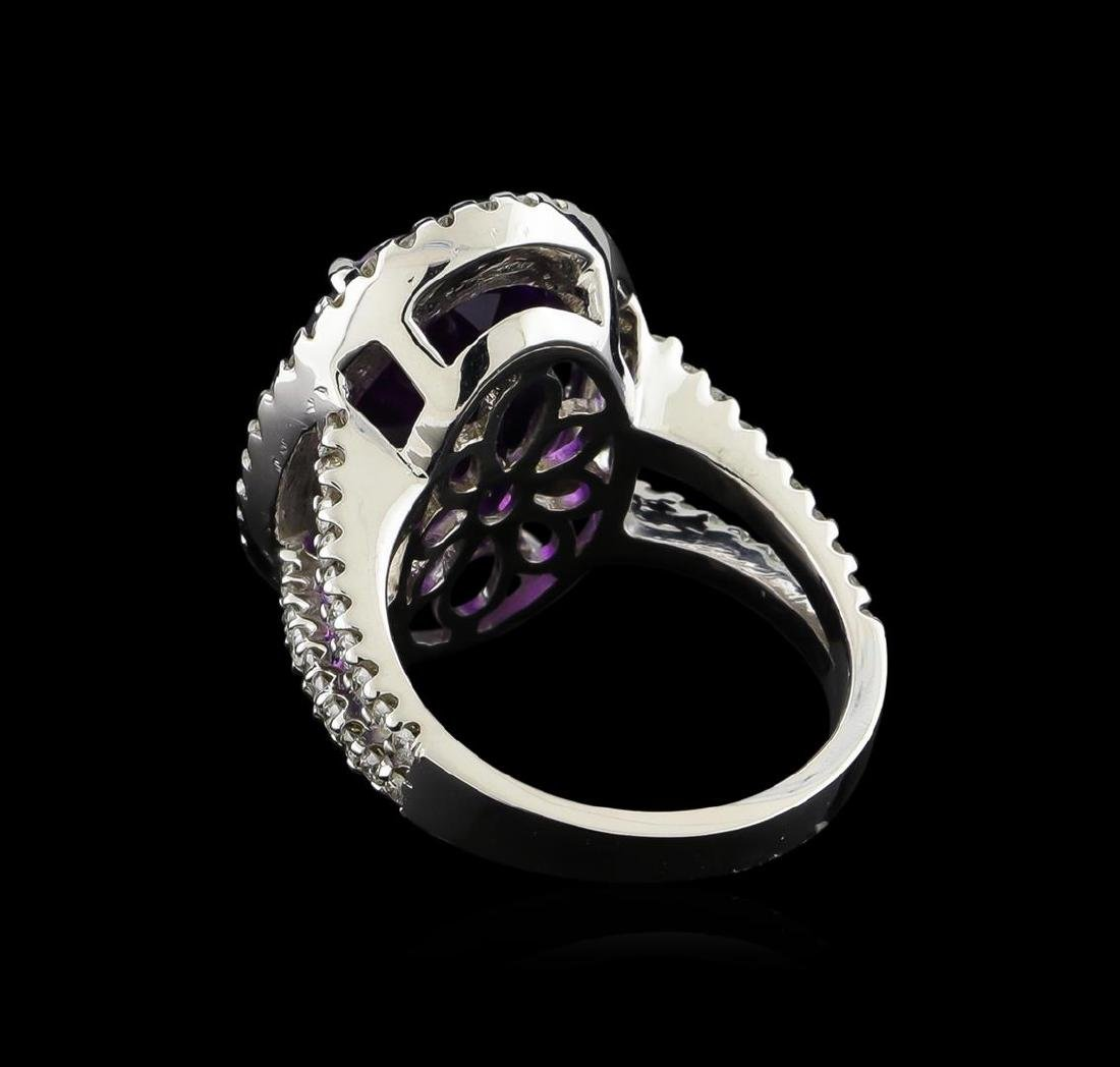 8.32 ctw Amethyst and Diamond Ring - 14KT White Gold - 2