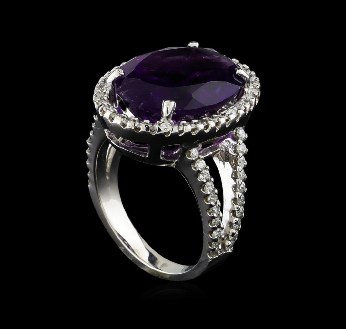 8.32 ctw Amethyst and Diamond Ring - 14KT White Gold - 3