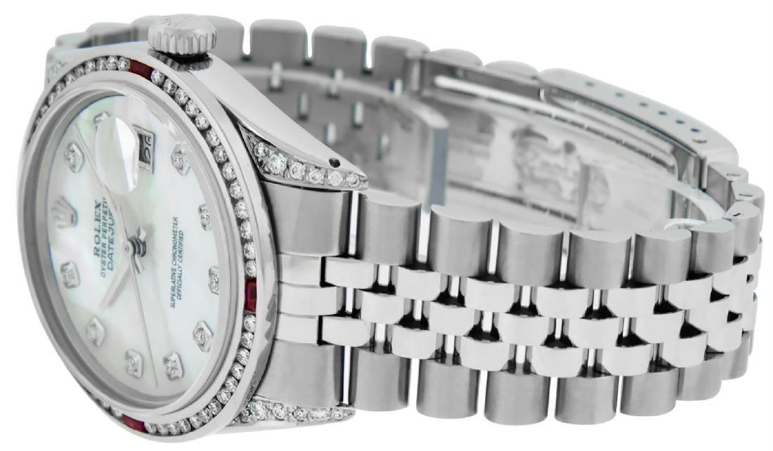 Rolex Mens SS MOP Diamond Lugs & Ruby Channel Set - 4