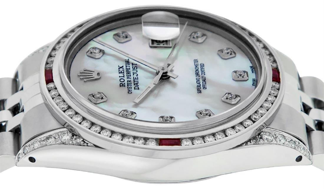 Rolex Mens SS MOP Diamond Lugs & Ruby Channel Set - 5