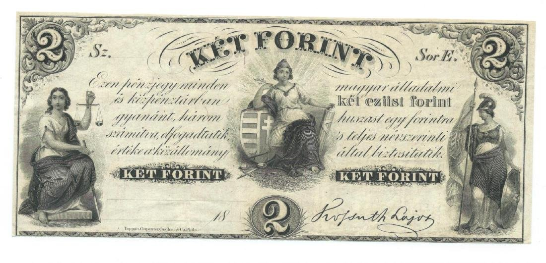 1800's $2 Ket Forint Obsolete Bank Note