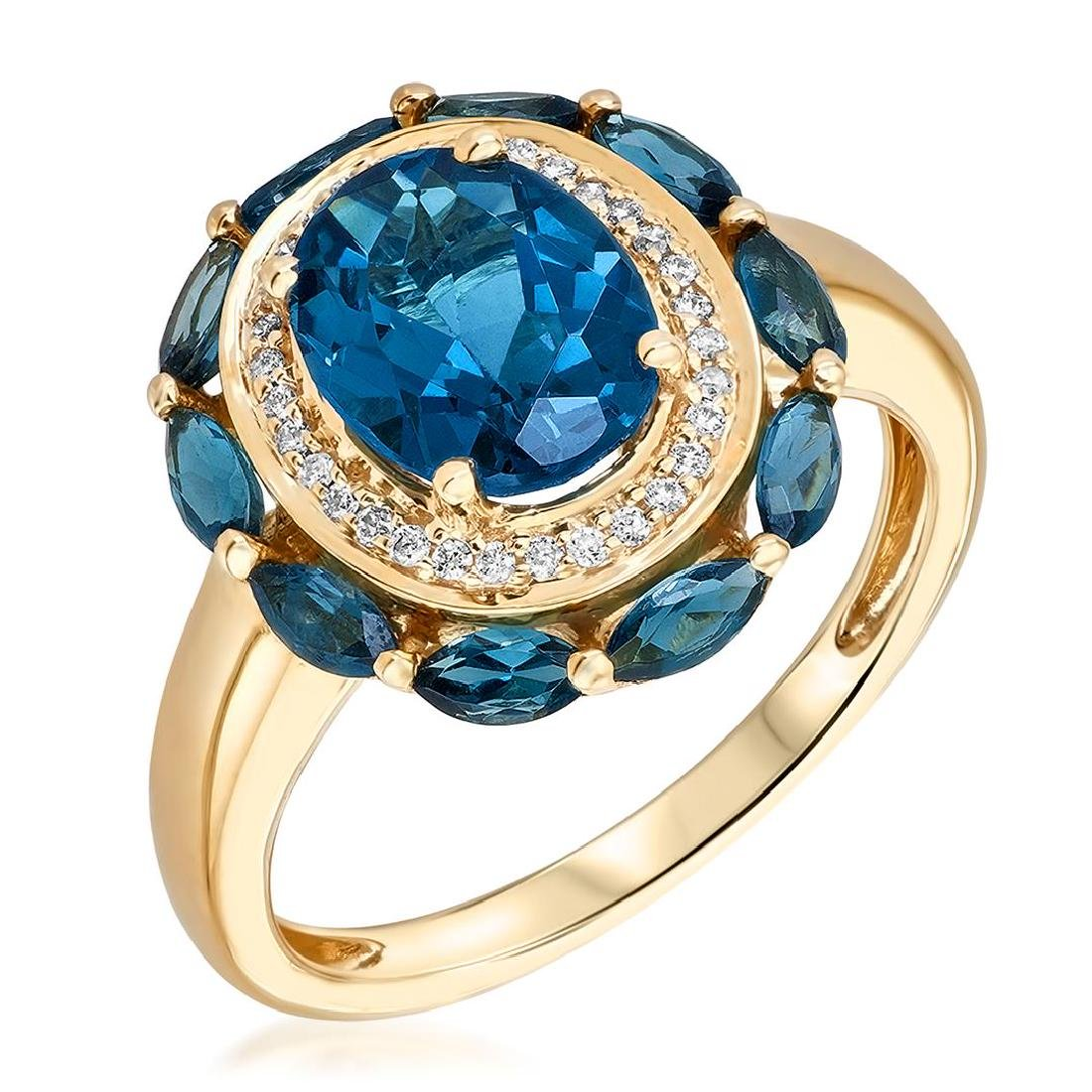 3.15 ctw Topaz and Diamond Ring - 10KT Yellow Gold - 2