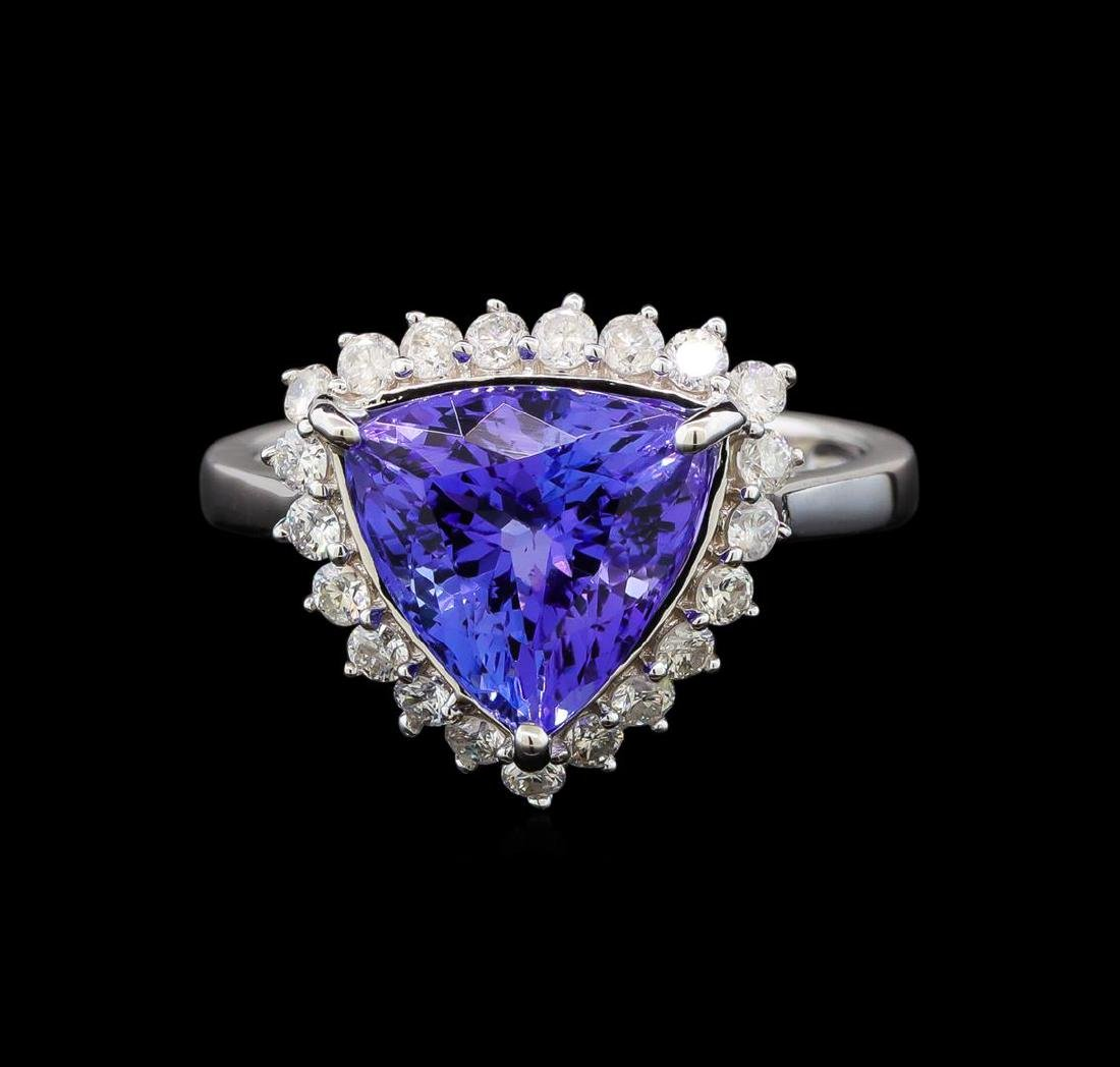 14KT White Gold 2.78 ctw Tanzanite and Diamond Ring - 2