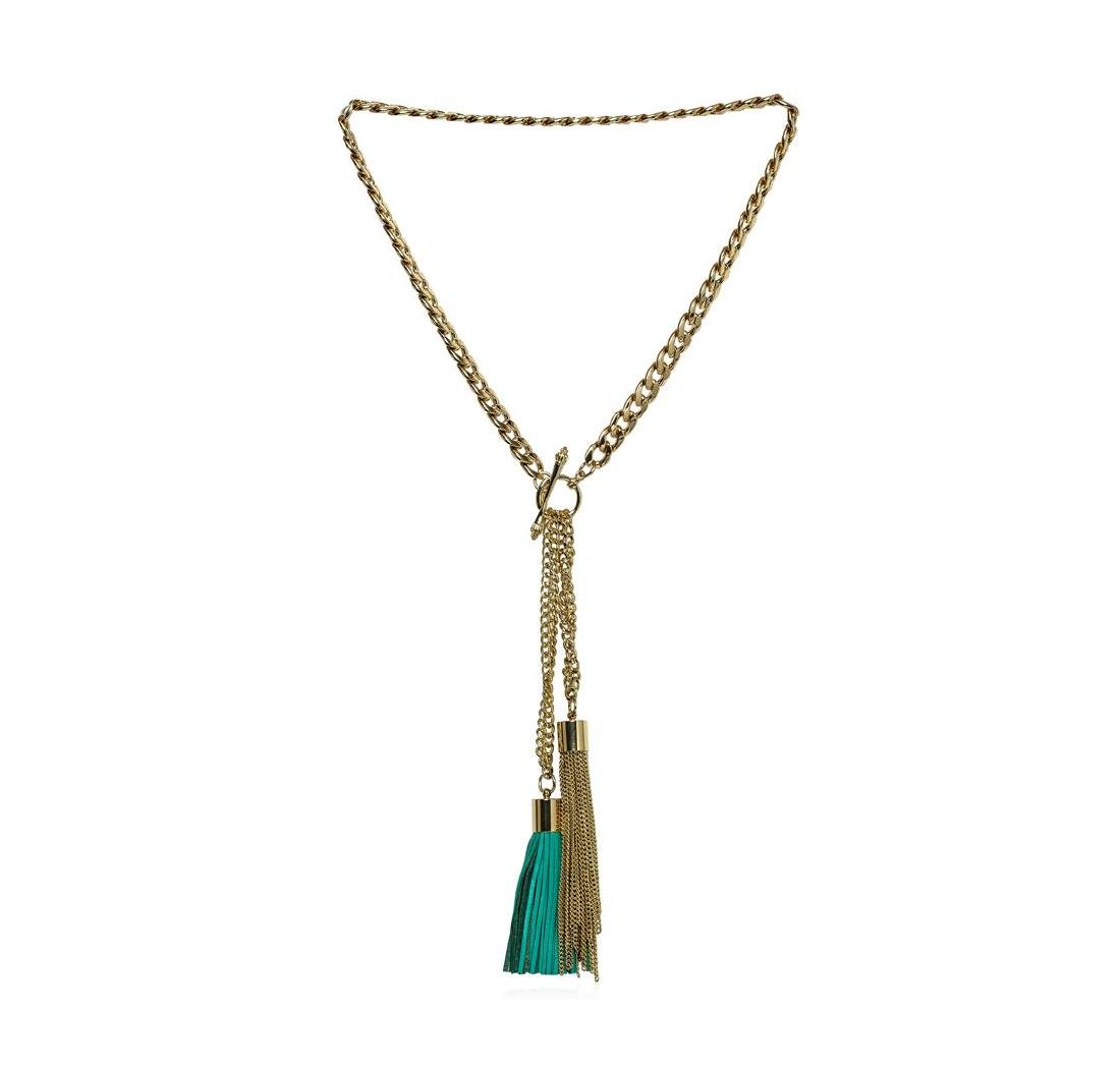 Double Leather Tassel Chain Necklace - Gold Plated