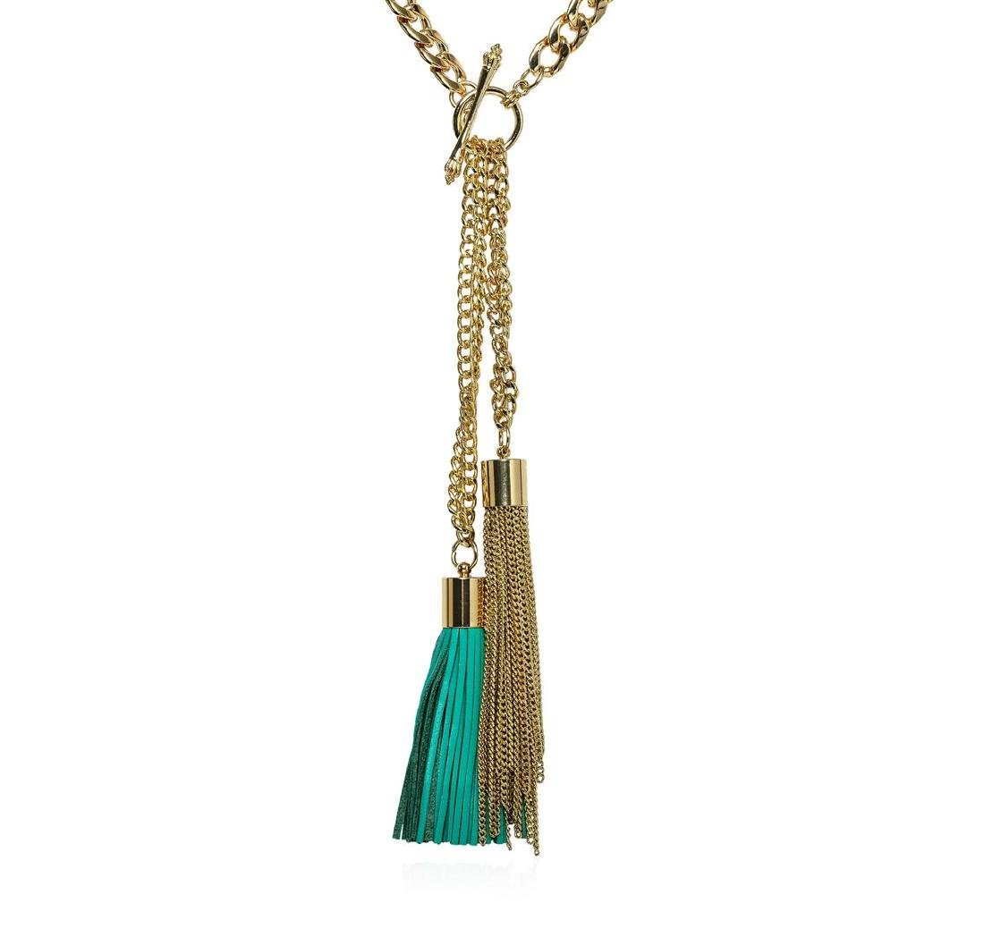 Double Leather Tassel Chain Necklace - Gold Plated - 2