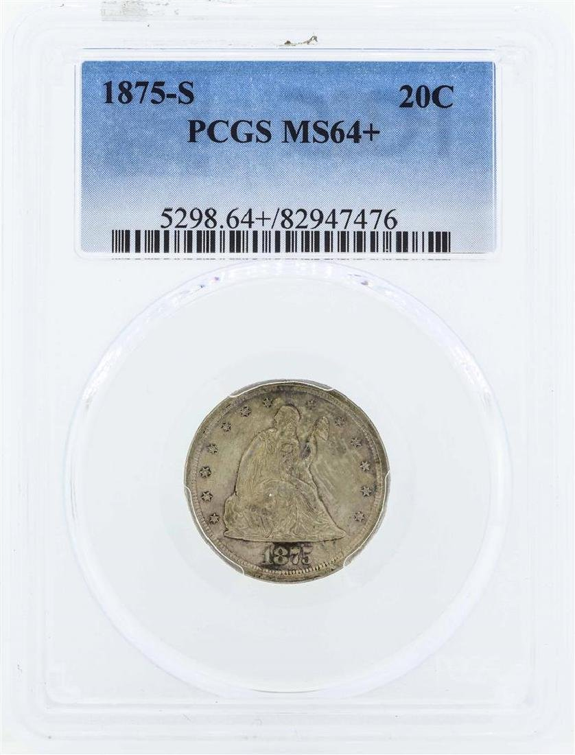 1875-S Seated Liberty Twenty Cent Piece Coin PCGS MS64+