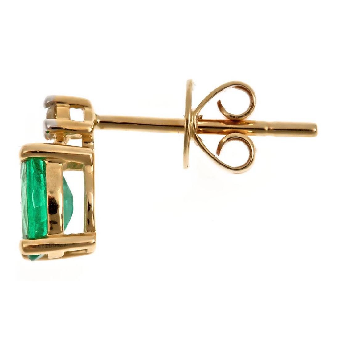 0.83 ctw Emerald and Diamond Earrings - 14KT Yellow and - 2