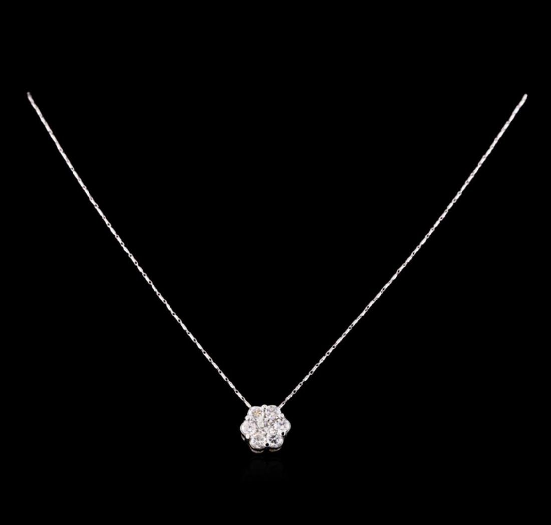 14KT White Gold 2.10 ctw Diamond Pendant With Chain - 2