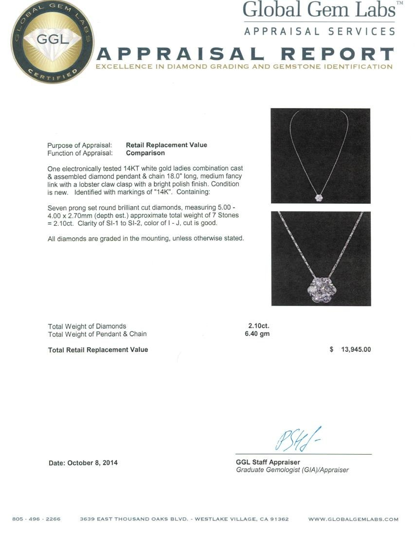 14KT White Gold 2.10 ctw Diamond Pendant With Chain - 3