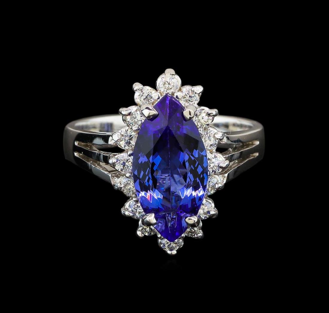 14KT White Gold 2.76 ctw Tanzanite and Diamond Ring - 2