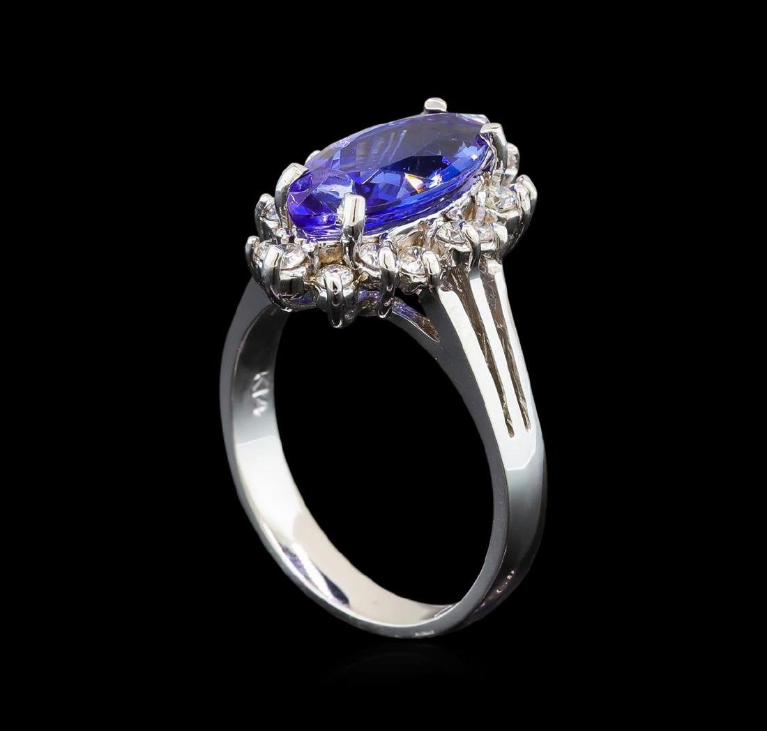 14KT White Gold 2.76 ctw Tanzanite and Diamond Ring - 4