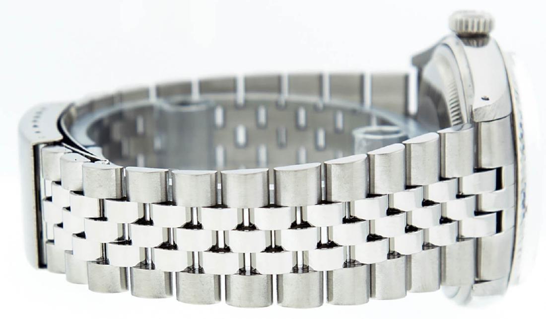 Rolex Mens Stainless Steel Silver Diamond Datejust - 3