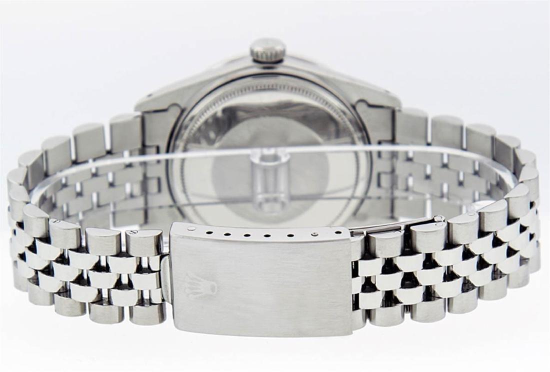 Rolex Mens Stainless Steel Silver Diamond Datejust - 5