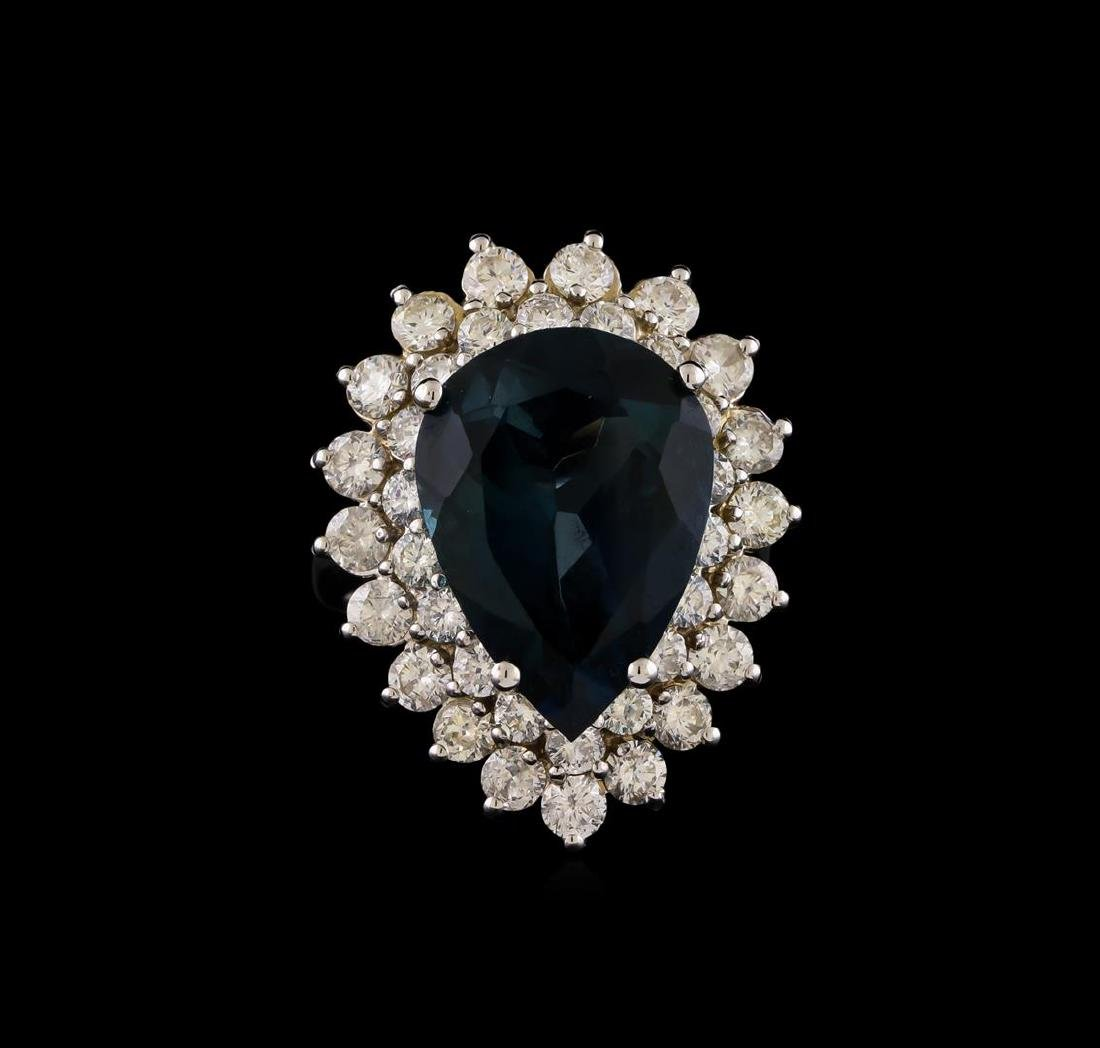 14KT White Gold 12.42 ctw Topaz and Diamond Ring - 2