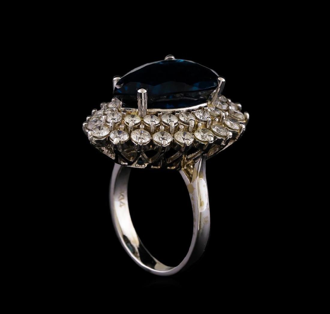 14KT White Gold 12.42 ctw Topaz and Diamond Ring - 4