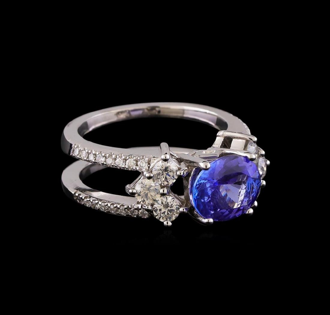 1.98 ctw Tanzanite and Diamond Ring - 14KT White Gold