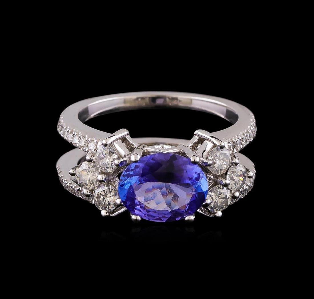 1.98 ctw Tanzanite and Diamond Ring - 14KT White Gold - 2
