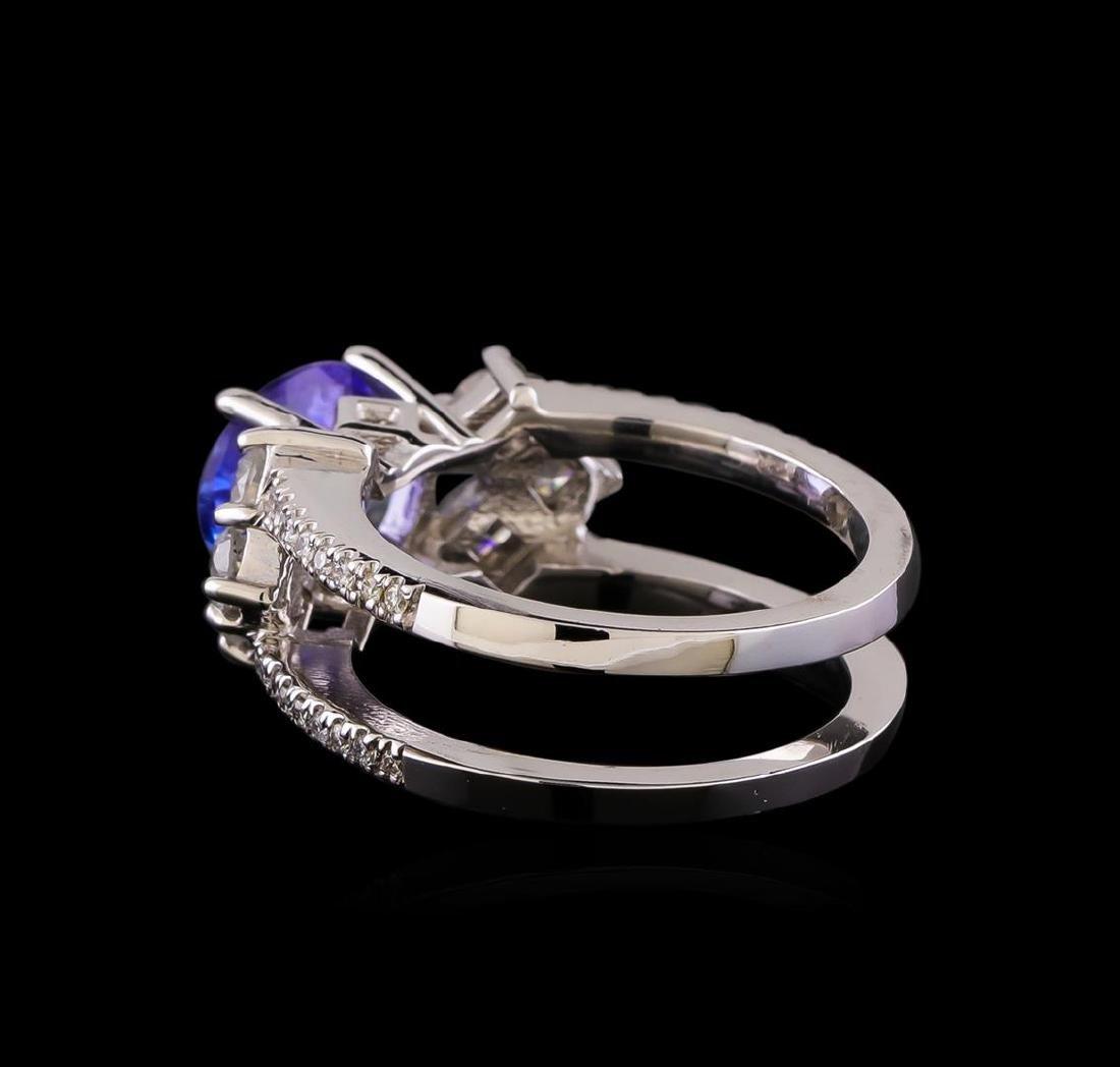 1.98 ctw Tanzanite and Diamond Ring - 14KT White Gold - 3