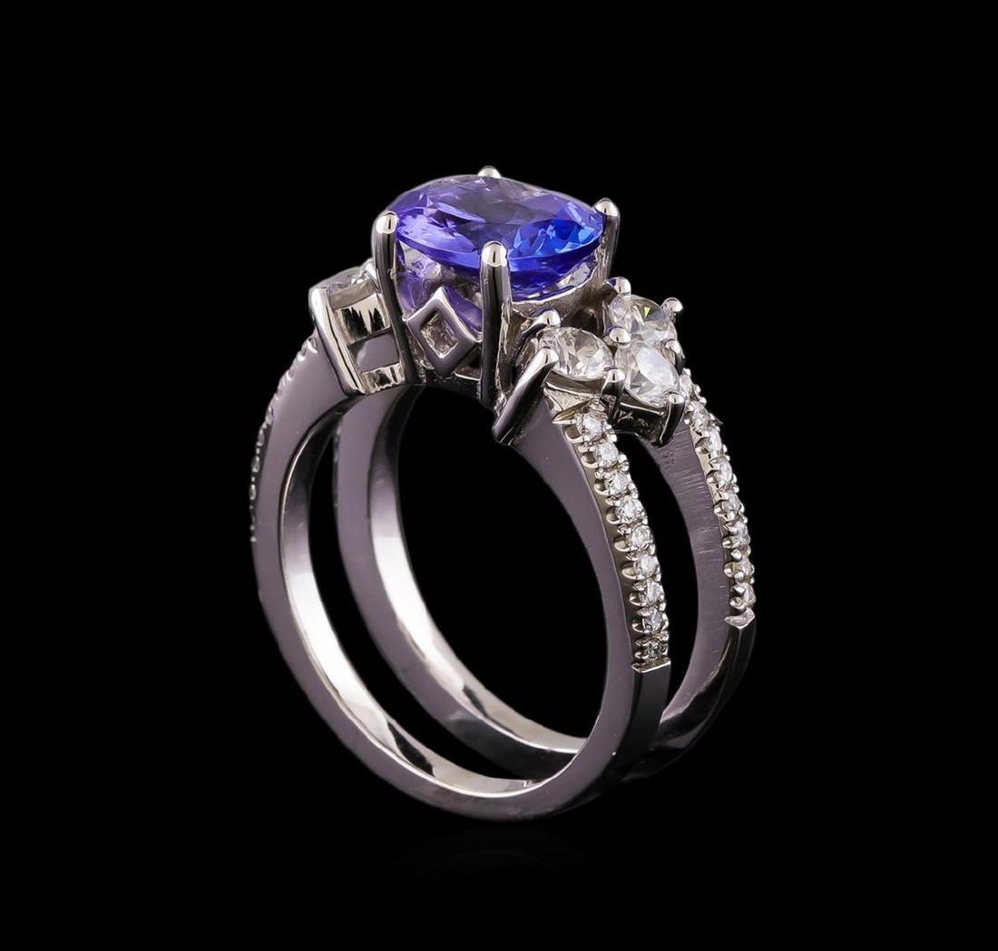 1.98 ctw Tanzanite and Diamond Ring - 14KT White Gold - 4