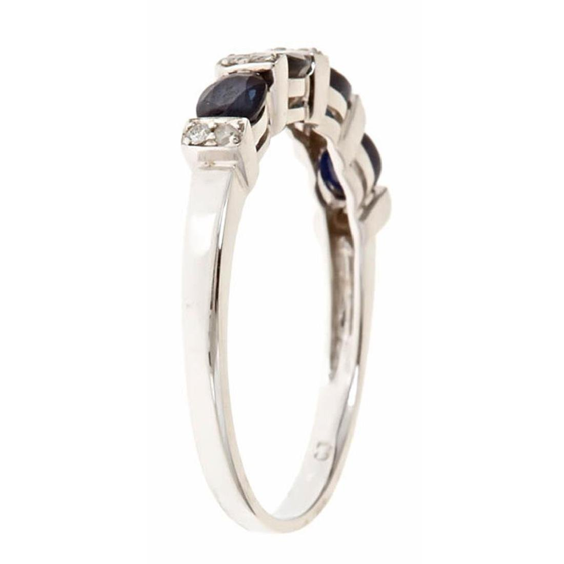 1.02 ctw Sapphire and Diamond Ring - 14KT White Gold - 2