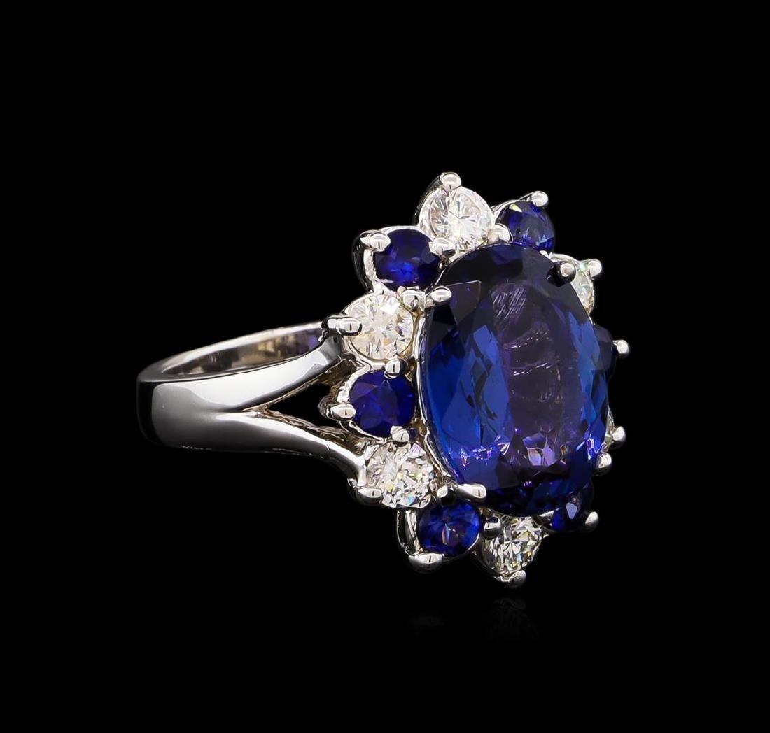4.70 ctw Tanzanite, Sapphire and Diamond Ring - 14KT