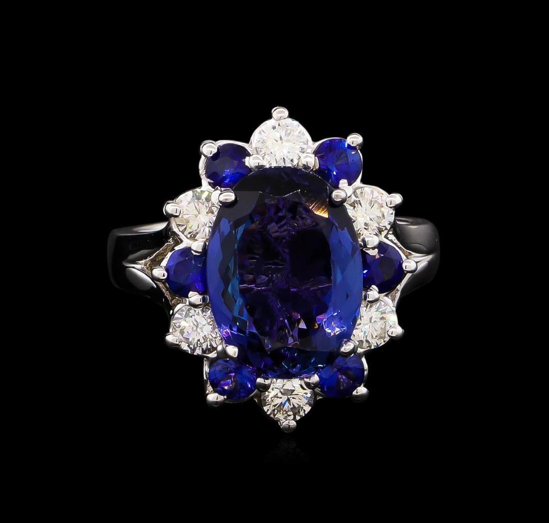 4.70 ctw Tanzanite, Sapphire and Diamond Ring - 14KT - 2