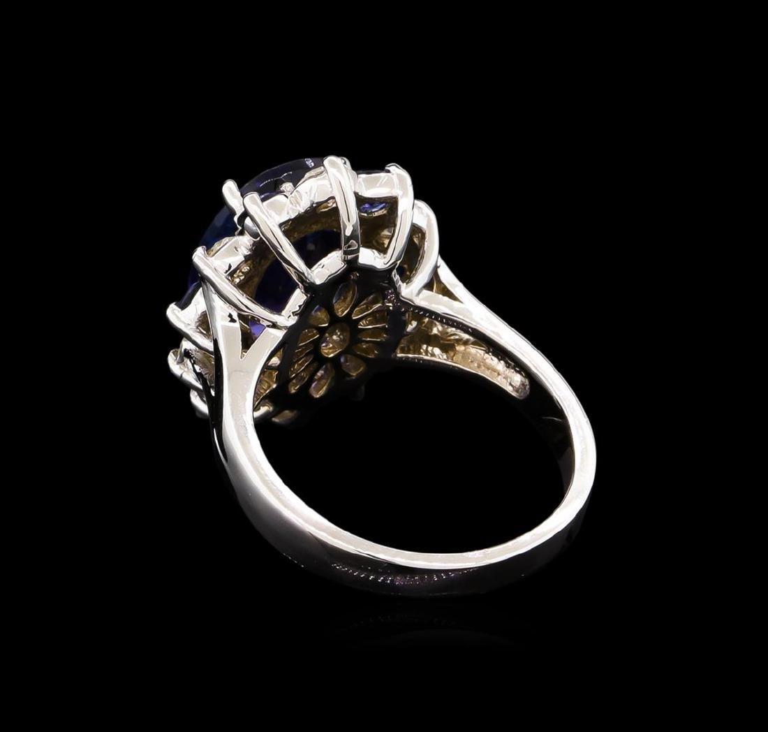 4.70 ctw Tanzanite, Sapphire and Diamond Ring - 14KT - 3