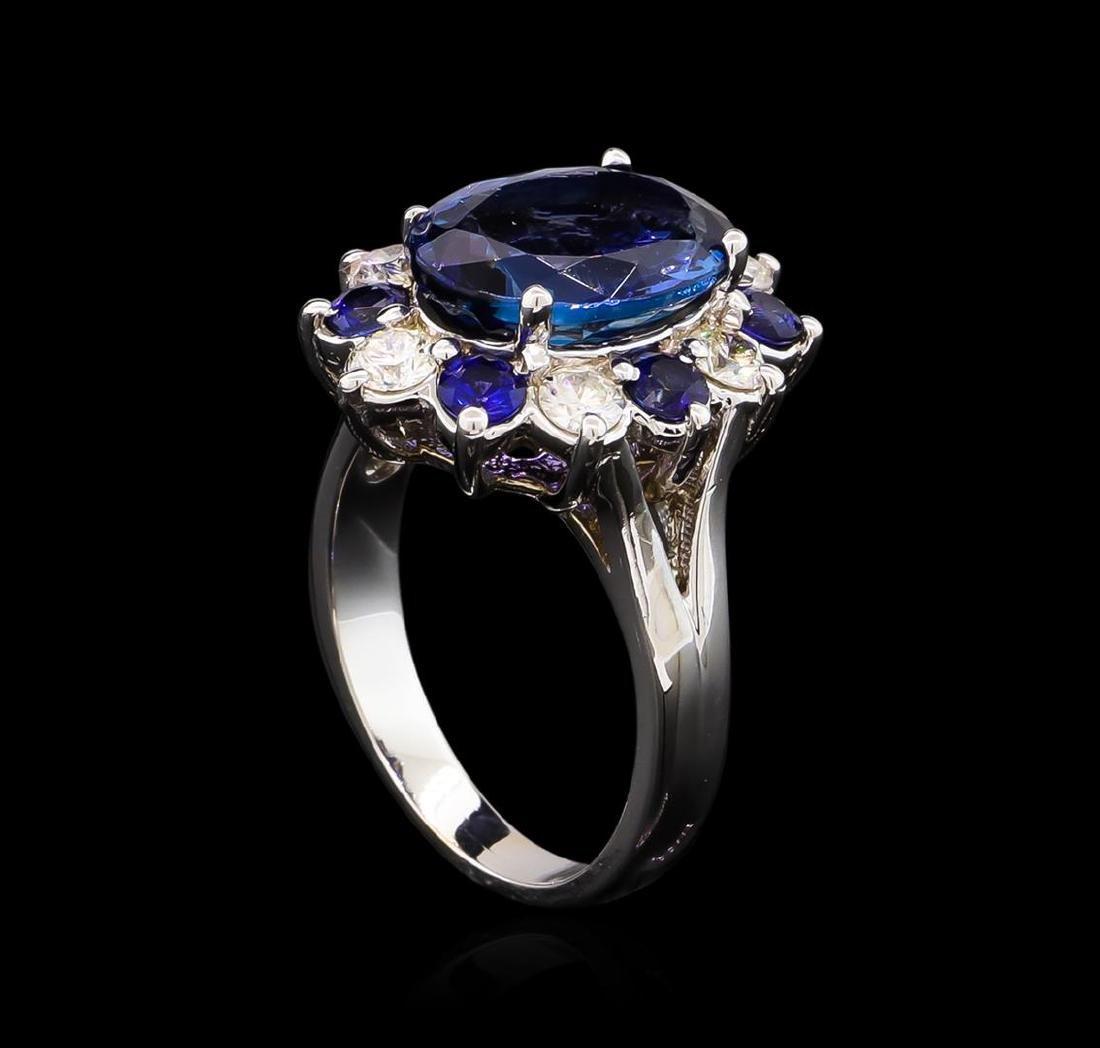 4.70 ctw Tanzanite, Sapphire and Diamond Ring - 14KT - 4
